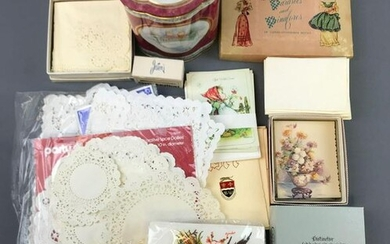 Group of Paper Doilies, Stationery, Envelopes + more