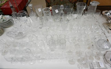 Group with Crystal and Glass, including Decanters, Vases, Stems and Kitchen Glassware
