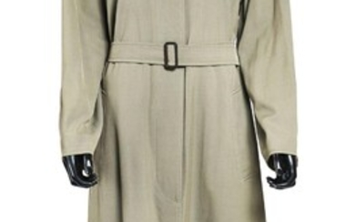HERMÈS Trench-coat réversible en laine et coton kaki (taille 34) Reversible trench coat in khaki wool and cotton (size 34)...