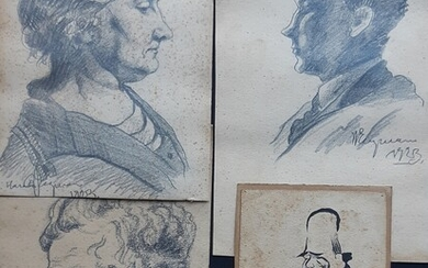 NOT SOLD. Harald Engman: Three portraits and one Chinese scholar. All signed Harald Engman/H.Engman. Three...