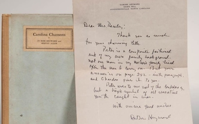 Heyward, DuBose (1885-1940) and Hervey Allen (1889-1949) Carolina Chansons. Legends of the Low Country, with Heyward Autograph Letter S