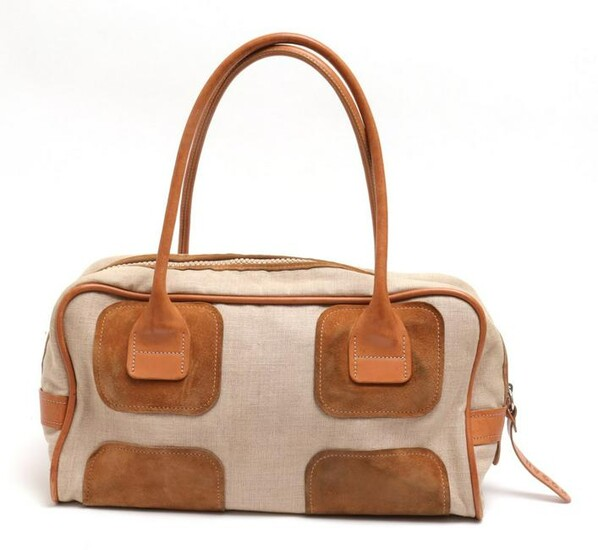 Hogan Linen & Leather Petite Duffel Bag