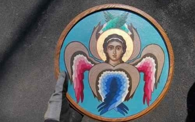 """Icon (Hand Painted) on Oak wood + """"Angel"""" + chalice +"""