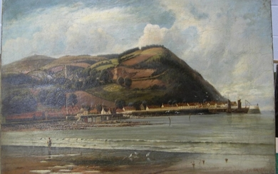 """J G SNAPE 1893 oil on canvas """"Panoramic view of coastal tow..."""