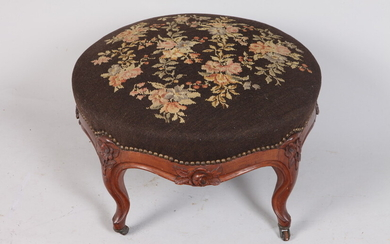 LOUIS XV CARVED WALNUT CIRCULAR-TOP OTTOMAN WITH FLORAL NEEDLEPOINT TOP,...