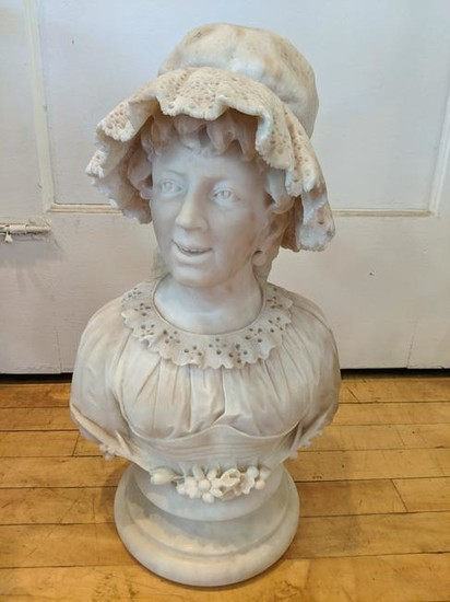 Large Carved Marble Bust of Woman w/ Lace Collar & Hat