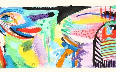 Lis Zwick: Figure composition. Signed Lis Zwick 1989. Mixed media on paper. Sheet size 11×26 cm.
