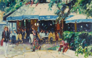 Lisandro Lopez Baylon - Cafe in Blue & White