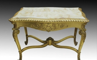 Louis Xv Style Marble Top Salon Table