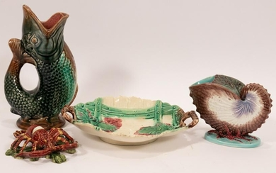 "MAJOLICA PITCHER, DISH & CRAWFISH, 4 PCS, H 1.5""-10"""