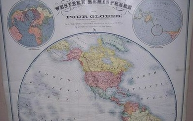 Map of Western Hemisphere With Four Globes.
