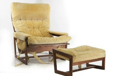 Mid-Century Modern Teak Lounge Chair with Ottoman