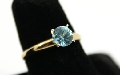 Modern 14K Yellow Gold And Faux Sapphire Ring