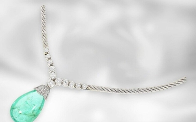 Necklace: very nice white gold vintage necklace with large emerald drop and diamonds, total ca. 12,6ct, 18K Gold