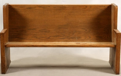 "OAK CHURCH PEW H 37"", L 64"", D 22"""