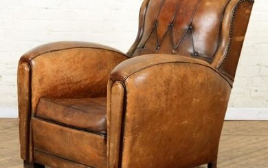 OVERSIZED FRENCH LEATHER CLUB CHAIR CIRCA 1940