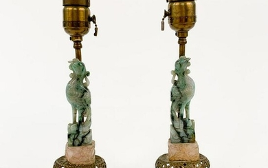 PAIR, CHINESE CARVED JADEITE PHOENIX ACCENT LAMPS