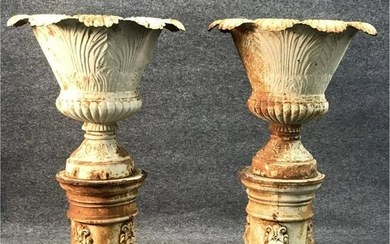 """PR OF CAST IRON URNS ON CYLINDRICAL BASES 46 1/2"""" TALL"""