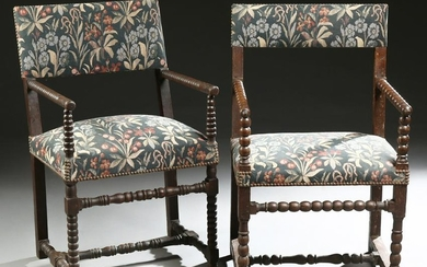 Pair of Carved Beech Fauteuils, early 20th c,, the