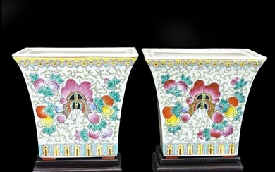 Pair of Chinese Famille Rose Flower Pots