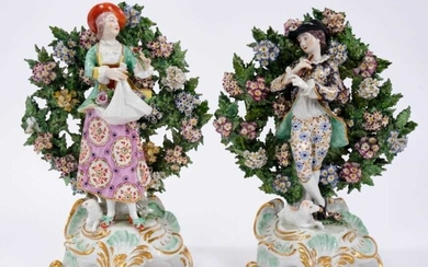 Pair of Continental porcelain figures in Derby style