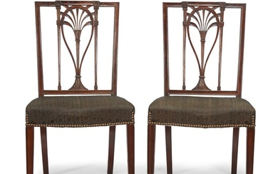 Pair of Federal carved mahogany side chairs circa 1800...