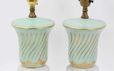Pair of French porcelain lamp bases