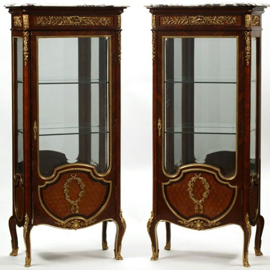 Pair of Louis XV Style Dore Bronze Mounted Vitrine