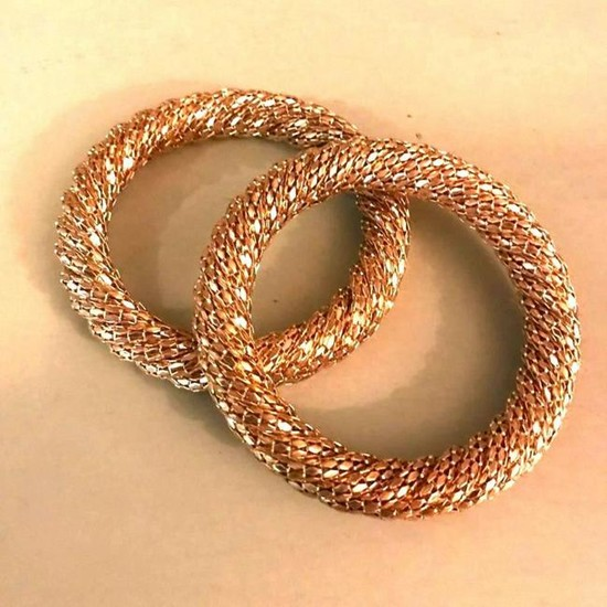 Pair of Modern Woven Gold Plated Fashion Bangle