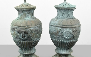 Pair of Monumental Urns, Classical Relief
