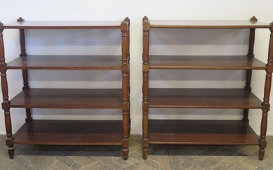 Pair of mahogany and mahogany veneer shelves.