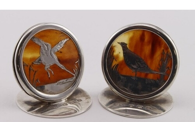 Pair of silver & tortoiseshell Menu Holders marked for Aide ...