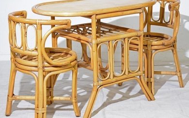 Paul Frankl Style Oval Table & 2 Chairs