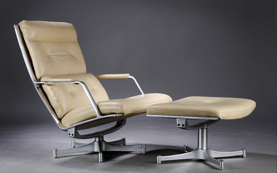 Preben Fabricius and Jørgen Kastholm. Lounge chair, Model FK85, with footstool, cast aluminium and leather (2)