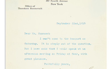 ROOSEVELT, THEODORE. Typed Letter Signed, T. Roosevelt, to John Hays Hammond