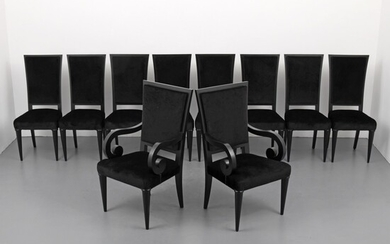 Rare Serge Roche Dining Chairs, Set of 10