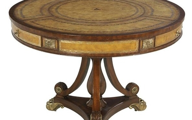 Regency-Style Mahogany and Leather Center Table