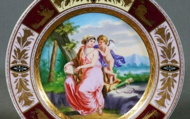 Royal Vienna Huntress And Cherub Plate