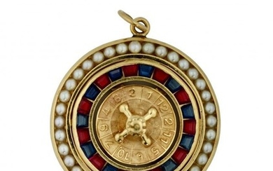"""Ruby, Sapphire and Pearl """"roulette wheel"""" Pendant"""