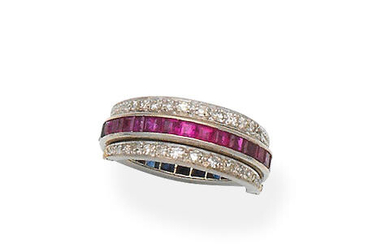Sapphire, ruby and diamond 'Night and Day' ring