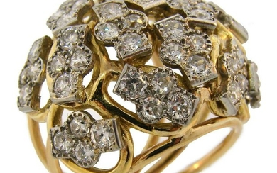 Seaman SCHEPPS Diamond Yellow Gold Platinum RING 1950s