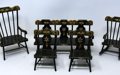Set Pennsylvania Dutch Style Dollhouse Furniture