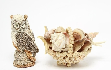 Shell-Clad Decorative Objects incl. Owl & Basket 2