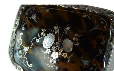 Silver and Tortoise Powder Box - An extremely pretty silver-...