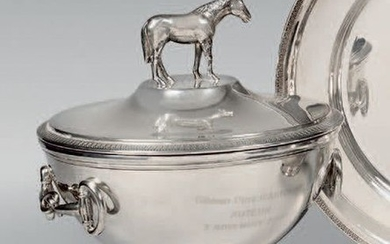 Silver covered vegetable dish on a pedestal, the...