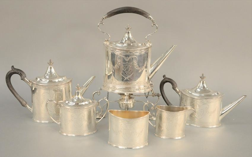 Sterling Silver Six Piece Tea and Coffee Set, George II