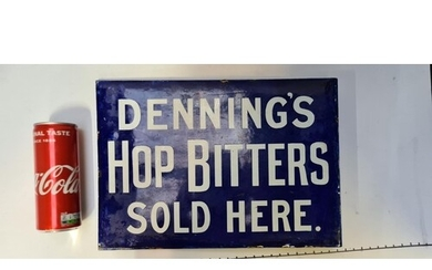 Superb double Sided Very early 1870s Blue enamel sign. Denni...
