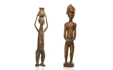 TWO CARVED STANDING AFRICAN TRIBAL FIGURES