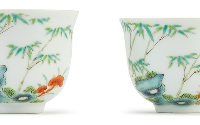 TWO FAMILLE-VERTE 'LINGZHI AND BAMBOO' CUPS QING DYNASTY, DAOGUANG PERIOD