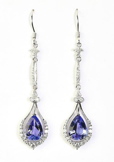 Tanzanite, diamond, and platinum ear pendants